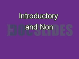 Introductory and Non