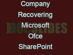 An Altegrity Company Recovering Microsoft Ofce SharePoint Server Data