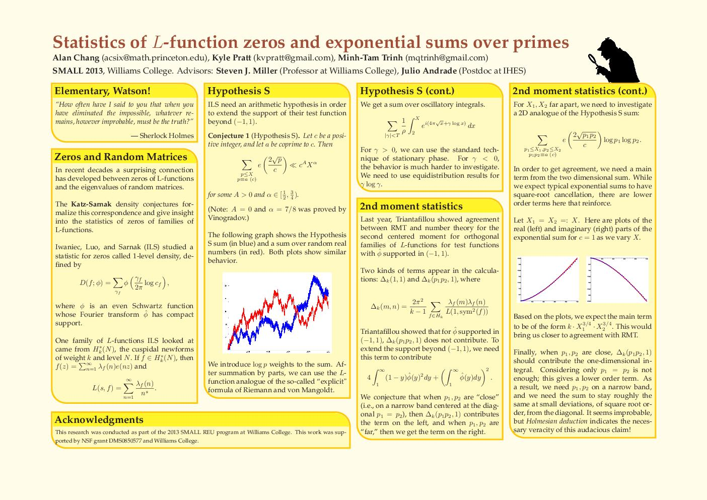 Statistics of function zeros and exponential sums over primes Alan Chang acsixmath PowerPoint PPT Presentation