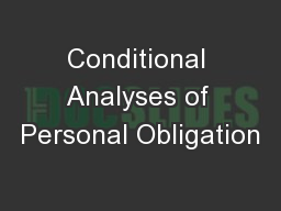 Conditional Analyses of Personal Obligation