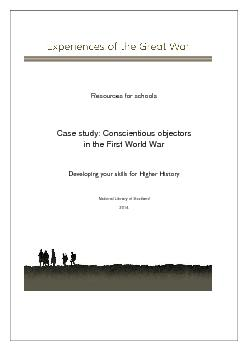 Case study: Conscientious objectors Developing your skills for Higher