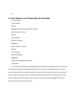 A- and V-Patterns and Oblique Muscle Overaction PowerPoint PPT Presentation