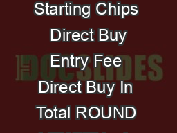 Main Event Direct Buy In Starting Chips  Direct Buy Entry Fee Direct Buy In Total ROUND LENGTH min