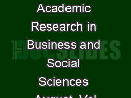 International Journal of Academic Research in Business and Social Sciences August  Vol