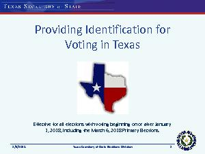 Acceptable Forms of Identification for Voting in Texas  Texas Secretary of State Elections Division  Acceptable IDs There are  forms of acceptable ID Texas driver license issued by the Texas Departmen