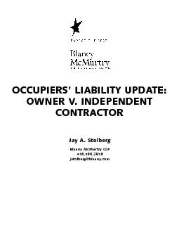 jstolberg@blaney.comOCCUPIERS' LIABILITY UPDATE: