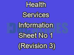 Health Services Information Sheet No 1 (Revision 3)