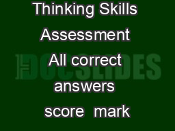Thinking Skills Assessment All correct answers score  mark PowerPoint PPT Presentation