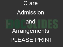 Family Child C are Admission and Arrangements PLEASE PRINT