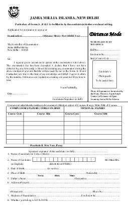 JAMIA MILLIA ISLAMIA NEW DELHI Particulars of Forms A  B  C to be filled in by the candidate in hisher own hand writing