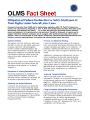 OLMS Fact Sheet Obligation of Federal Contractors to Notify Employees