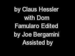 by Claus Hessler with Dom Famularo Edited by Joe Bergamini Assisted by