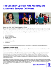 The Canadian Operatic Arts Academy and