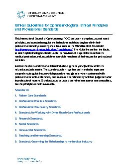 Ethical Guidelines for Ophthalmologists: Ethical Principles