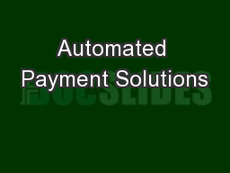 Automated Payment Solutions