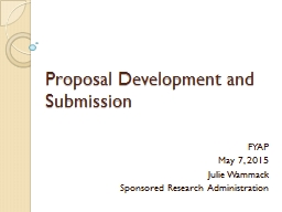 Proposal Development and Submission