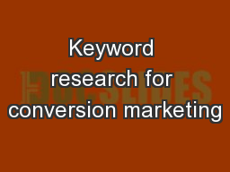 Keyword research for conversion marketing