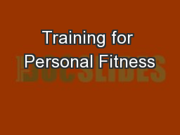 Training for Personal Fitness