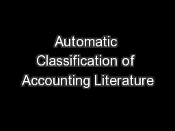 Automatic Classification of Accounting Literature