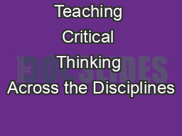 Teaching critical thinking skills powerpoint