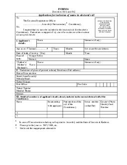 FORM  See rules  and  Application for inclusion of name in electoral roll To The Electoral Registration Officer Assembly Parliamentary Constituency