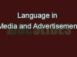 Language in Media and Advertisement