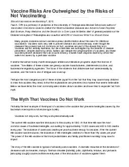 Vaccine Risks Are Outweighed by the Risks of