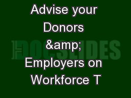 Activity: Advise your Donors & Employers on Workforce T