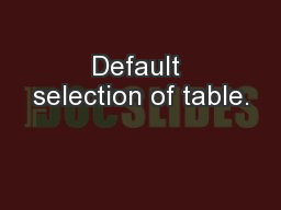 Default selection of table.
