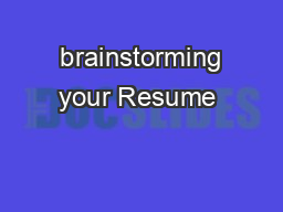 brainstorming your Resume