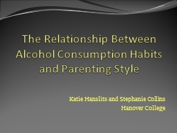 The Relationship Between Alcohol Consumption Habits and Par