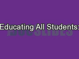 Educating All Students: PowerPoint PPT Presentation