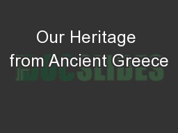 Our Heritage from Ancient Greece