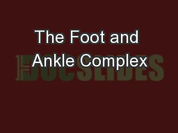 The Foot and Ankle Complex