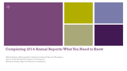 Completing 2014 Annual Reports: What You Need to Know