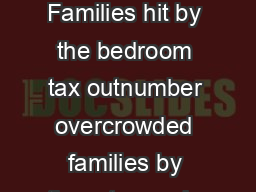 THE BEDROOM TAX Some home truths Introduction Families hit by the bedroom tax outnumber overcrowded families by three to one in the North  We have a housing crisis