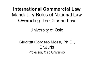 International Commercial LawMandatory Rules of National LawOverriding