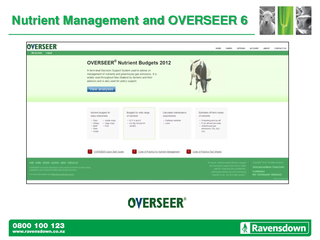 Nutrient Management and OVERSEER 6 PowerPoint PPT Presentation
