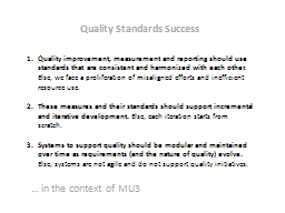 Quality improvement,