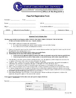 Revised  PassFail Registration Form Semester  Year  Name  I