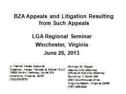 BZA Appeals and Litigation Resulting from Such Appeals PowerPoint PPT Presentation