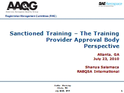 1 Sanctioned Training – The Training Provider Approval Bo