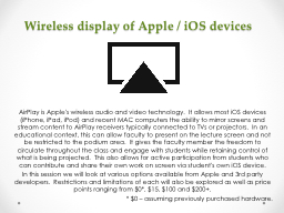 Wireless display of Apple / iOS
