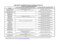 CME GROUP CLEARPORT HOLIDAY SCHEDULE FOR  All times are Eastern Standard Time HOLIDAY ATE ON WHICH CME CLEARPORT DOES NOT OPEN DATE AND TIME CME CLEARPORT OPENS HZ  Wedne sday Jan  Tuesd ay  December
