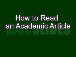 How to Read an Academic Article