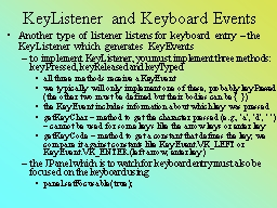 KeyListener and Keyboard Events