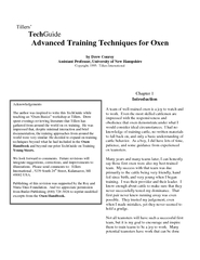 Advanced Training Techniques for Oxen
