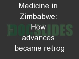 Laboratory Medicine in Zimbabwe: How advances became retrog