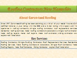 Roofing Contractors New Hampshire