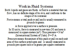 Work in Fluid Systems PowerPoint PPT Presentation